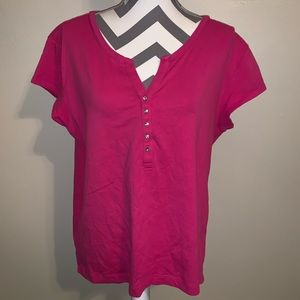 Chico's Button V-neck Short Sleeve Tee.